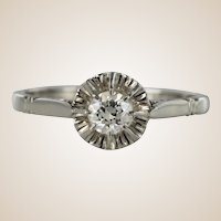 French 1930s Retro Diamond Platinium Solitaire Ring