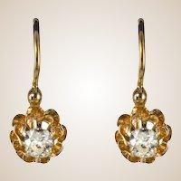 19th Century Diamond 18 Karats Yellow Gold Drop Earrings