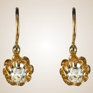 19th Century Diamond 18 Karats Yellow Gold Drop Earrings