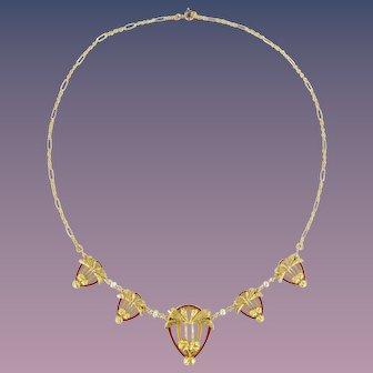 1900s Art Nouveau Gold Natural Pearl Enamel Drapery Necklace