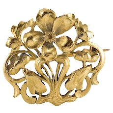 Art Nouveau Wiese Spirit 18 Karat Yellow Gold Antique Brooch