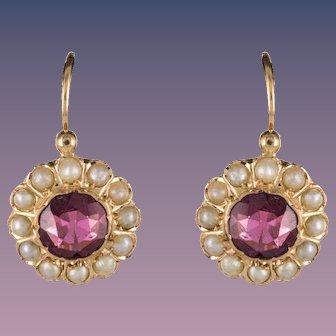 19th Century Garnet Natural Pearl Sleepers Earrings