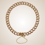 French 1900s Rose Gold Chiseled Chain Bracelet