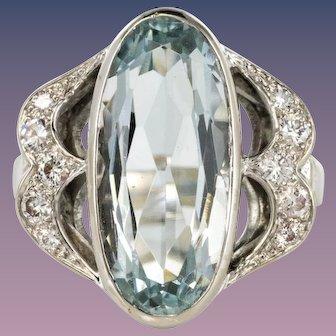 4.20 Carat Aquamarine Diamonds 18 Karat Gold White Ring
