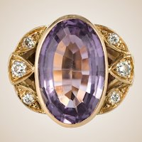 French Retro 1970s Amethyst Diamonds Ring
