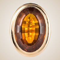 1960s 11.50 Carat Citrine 18 Karat Gold Yellow Vintage Ring