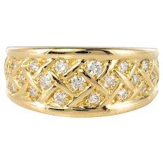 Modern Diamond and Yellow Gold Braid Bangle Ring