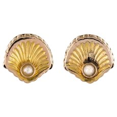 French 19th Century Natural Pearl Stud Earrings