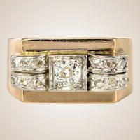 1950s Diamond 18 Karat Yellow Gold Tank Ring