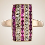 1900s Calibrated Ruby Diamond 18 Karat Rose Gold Rectangular Ring