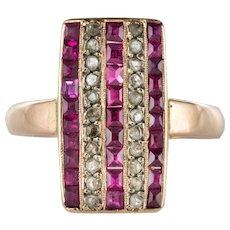 1900s Calibrated Ruby Diamond 18 Karat Rose Gold Rectangular Ring