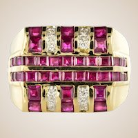 Modern 2.95 Carat Ruby Diamond Signet Ring