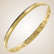 1900s French Belle Époque 18 Karat Yellow Gold Ivy Leaves Bangle Bracelet