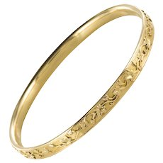 1900s French Belle Époque 18 Karat Yellow Gold Ivy Leaves Bangle Bracelet