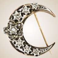 19th Century French Diamond Rose Gold Crescent Moon Brooch