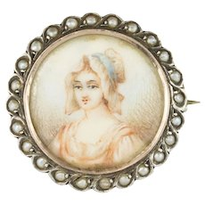 19th Century Miniature and Pearls on Silver Brooch