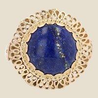 1960s Retro 4,25 Carat Lapis Lazuli 18 Karat Yellow Gold Ring