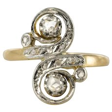 French 1890s 18 Karat Yellow Gold Diamond You and Me Ring