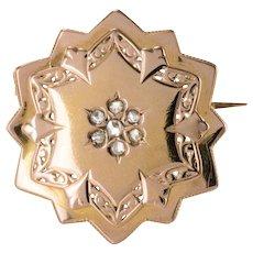 19th Century French Diamond 18 Karat Rose Gold Brooch