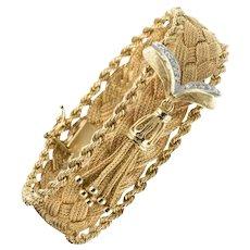 1960s Retro Yellow Gold Braid Diamonds Bracelet