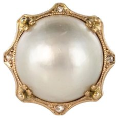 1930s Cultured Pearl Rose Cut Diamonds Yellow Gold Cocktail Ring