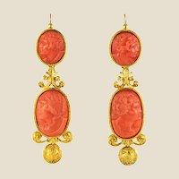 1830s Coral Cameo 18 Karat Yellow Gold Dangle Earrings
