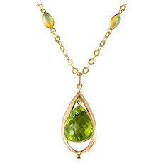 New 12,1 Carats Peridot Pendant Chain Set with Opals Necklace
