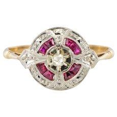 1925s French Art Deco 18 Karat Gold Ruby Diamond Ring