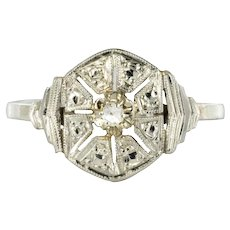1925s French Art Deco 18 Karat White Gold Diamond Ring