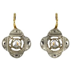 1900s Diamond Clover Shape Sleepers Drop Earrings