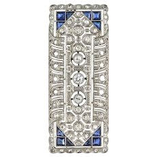1930s Art Deco Diamond Sapphire White Gold-Plate Brooch