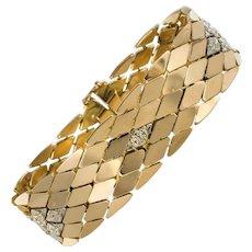 1960s Retro Scales Mesh 18 Karat Yellow Gold Bracelet