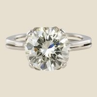 1950s Retro 3.20 Carat Diamond White Gold Solitary Ring