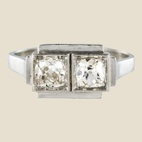 French 1925s Art Deco 2 Diamonds Platinum Ring