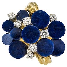 1970s Lapis Lazuli Diamonds Modernist Ring