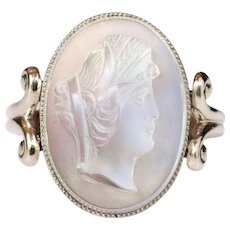 20th Moonstone Cameo White Gold Ring