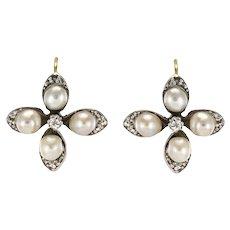19th Century Natural Pearls Diamonds Clover Shape Sleeper Earrings