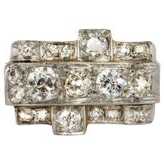 1940s 1.70 Carat Diamond Yellow Gold Platinum Curved Tank Ring