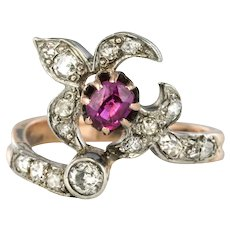 19th Century French Napoleon III Lily Flower Shape Ruby Diamond Rose Gold Ring