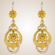 20th Century French Belle Époque Yellow Gold Dangle Earrings