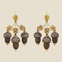 19th Century Yellow Gold Hair Leaves Glans Drop Earrings