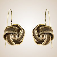 19th Century Golden Bows Hair Drop Earrings