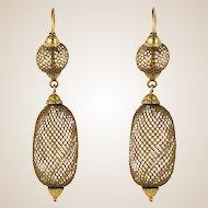 19th Century Hair Yellow Gold Pendant Earrings