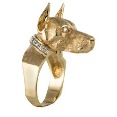 1960s Retro Dog-Shaped Diamonds Yellow Gold Ring