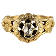 French 19th Century Rose-Cut Diamond Solitary Ring