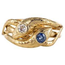 French 19th Century 18 Karat Yellow Gold Sapphire Diamond Snake Ring