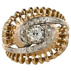 1960s Diamond 18 Karat Yellow Gold Retro Swirl Ring