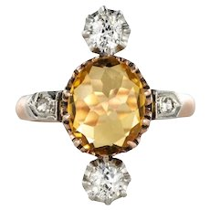French 19th Century 2.40 Carat Citrine 18 Karat Rose Gold Diamonds Ring