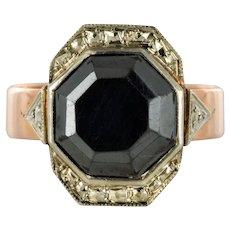 French 19th Century Napoleon 3 Rose Gold Hematite Ring