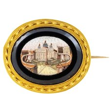 19th Century Micromosaic 18 Karat Yellow Gold Brooch